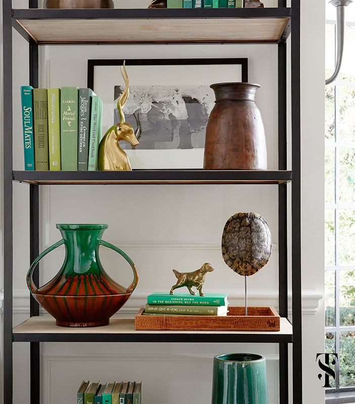 Shelves with Classic Decor in French Tudor Renovation by Summer Thornton on Hello Lovely