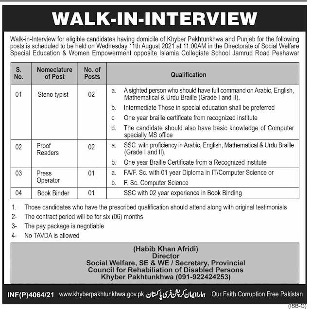 Social Welfare Special Education jobs in Pakistan 2021