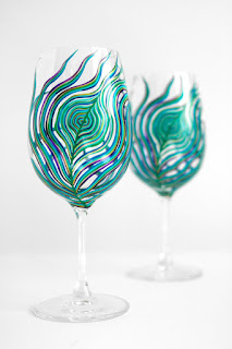 peacock wine glass from Mary Elizabeth Arts