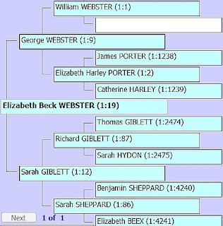Screenshot showing ancestors of Elizabeth Beck Webster