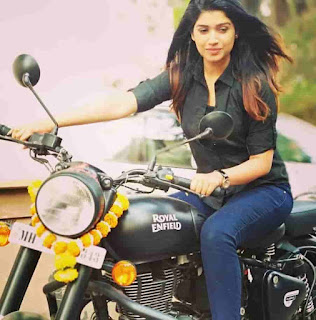 Rasika Sunil With Her Bike