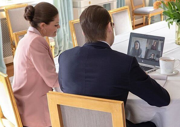 Crown Princess Victoria wore Filippa K pink blazer and trousers suit and silk blouse. Prof. Lars Trägårdh. Swedish Institute