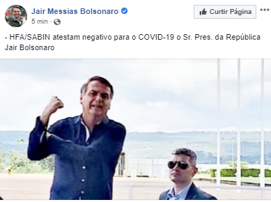 Urgente: Bolsonaro anuncia que teste para coronavírus deu negativo e desmente agencias de noticias.