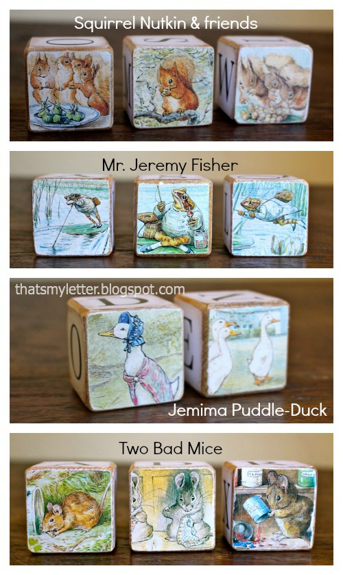 Beatrix Potter characters on wood blocks