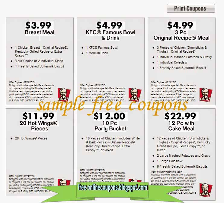 image regarding Kfc Printable Coupons referred to as Printable Coupon codes 2019: Kfc Discount codes