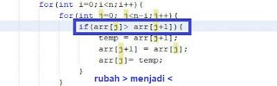 kode bubble sort descending java