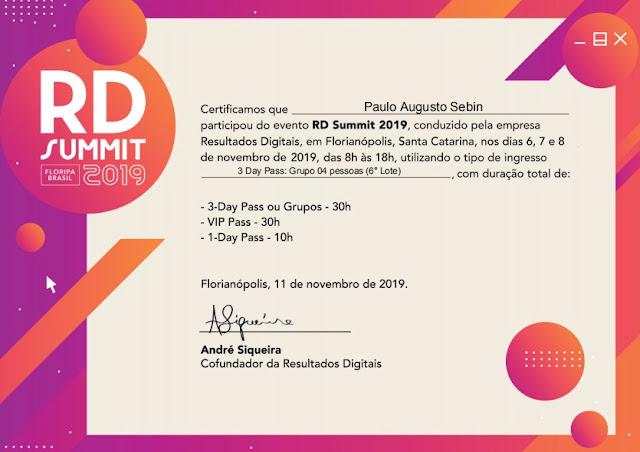 Certificado do RD Summit 2019 - analista Inbound Marketing Paulo Sebin