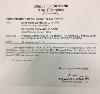 SSS Pension Increase - Additional Php 1,000 Effectivity Date is March 3