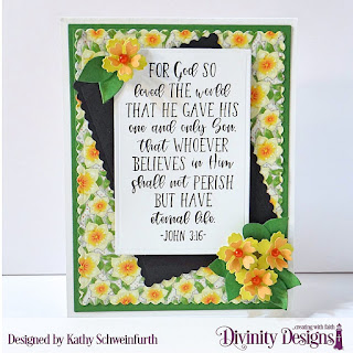 Divinity Designs Stamp Set: John 3:16, Custom Dies: Rectangles, Scalloped Rectangles, Festive Favor (flowers), Paper Collection: Spring Flowers 2019