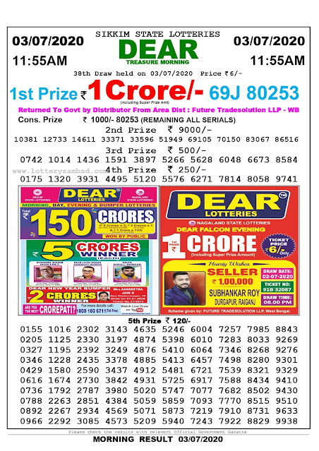 Sikkim State Lottery Sambad 03-07-2020 Today Result 11.55 AM