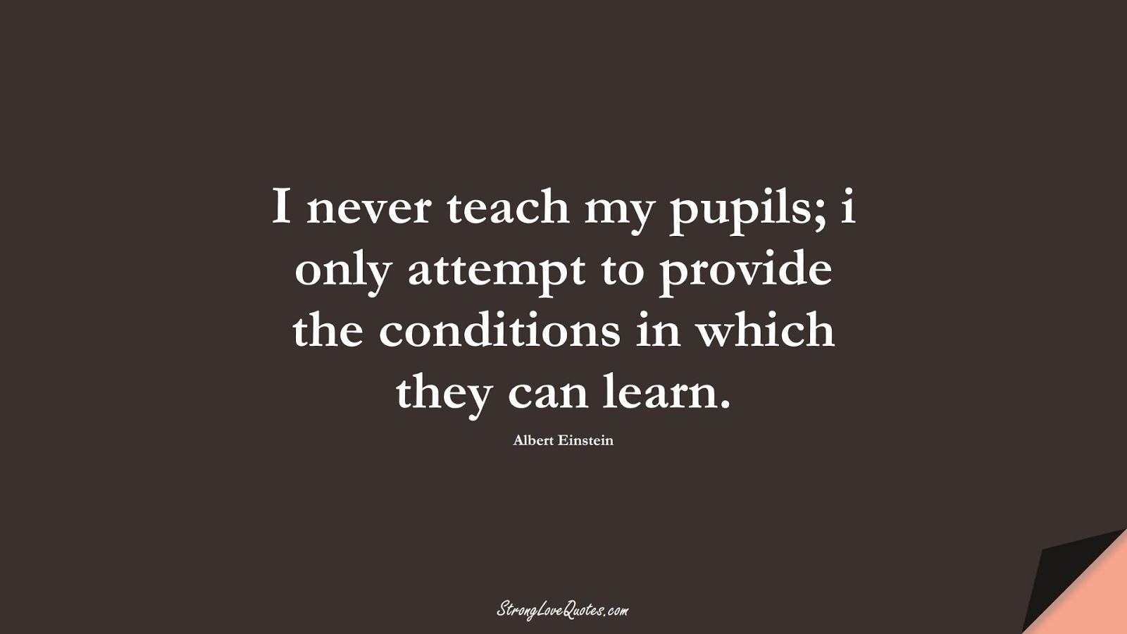 I never teach my pupils; i only attempt to provide the conditions in which they can learn. (Albert Einstein);  #EducationQuotes
