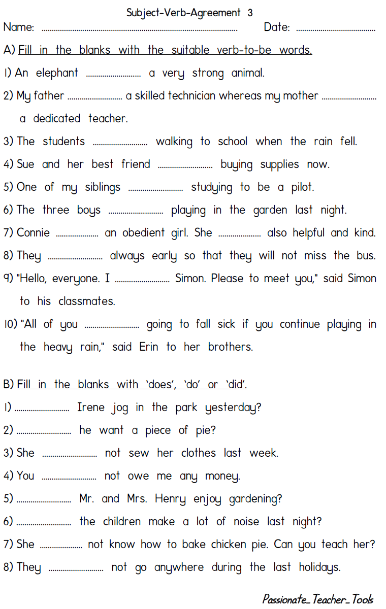 Passionate Teacher Tools: Subject Verb Agreement Quiz 3 (With Answers) [ 1200 x 760 Pixel ]