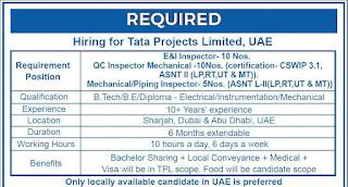 Tata Projects Limited Requirement B.Tech /B.E /Diploma For QC Inspector at Sharjah, Dubai & Abu Dhabi, UAE