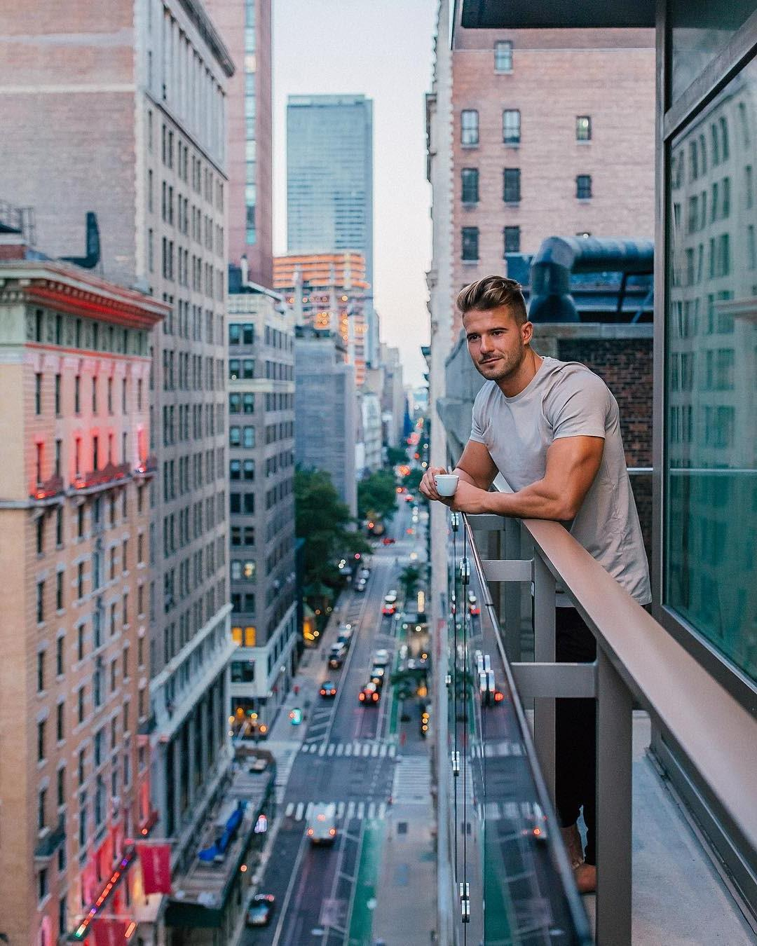 city-view-building-morning-coffee-handsome-triceps-hunk-drinking