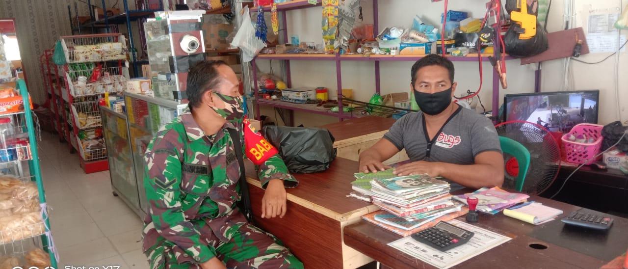Lukan Komsos Dengan Penyalur Sembako, Babinsa Kurnia Irwan Berikan Motivasi Tentang UKM dan Memajukan BUMDes Desa Cemaga Selatan.