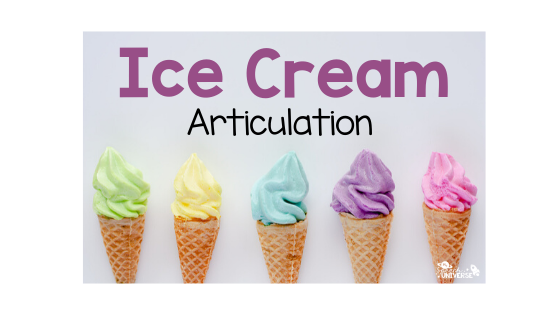 Articulation activities for speech therapy in teletherapy using an ice cream theme