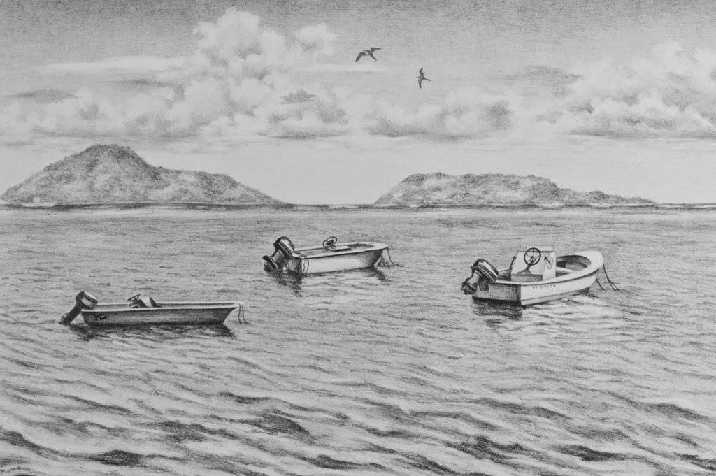 Dibujo De Paisaje Marino Para Colorear: Pintura Moderna Y Fotografía Artística : Dibujos A Lápiz