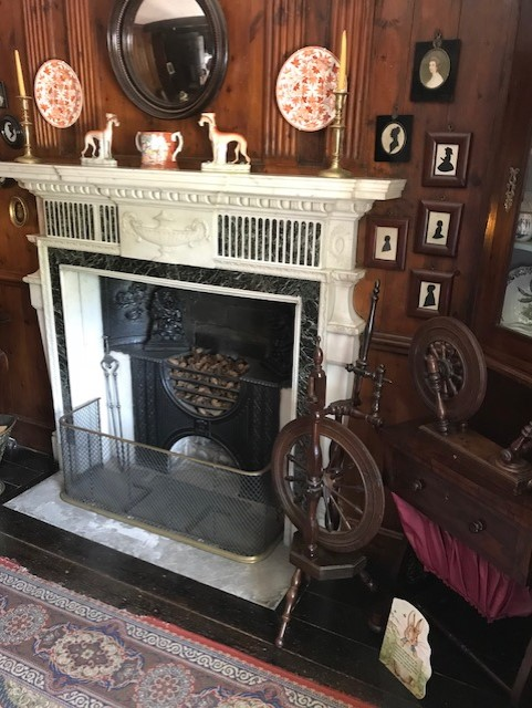 Fire place surrounded by pictures and trinkets