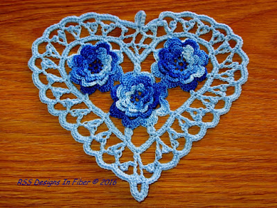 Blue Irish Crochet Heart with 3D Roses - Handmade By Ruth Sandra Sperling of RSS Designs In Fiber