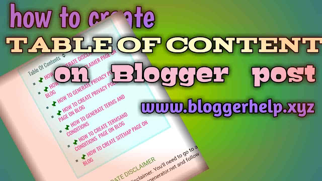 How to make content table in Blog