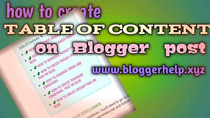 How to create content table in blogger post