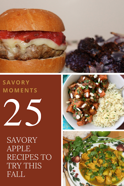 Collage of savory apple recipes including a burger, curry, and stew.