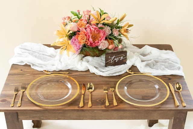 farm sweetheart table with decor