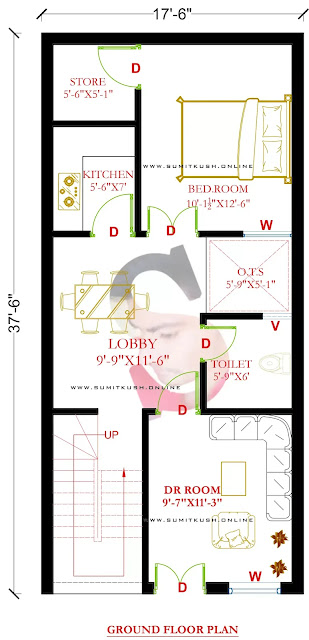Floor Plan for 17.5X37.5 Ft (2BHK) with Front Elevation (656.25 sqft)