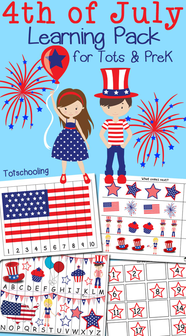 FREE Fourth of July/ Independence Day pack for toddlers and preschoolers to practice numbers, counting, alphabet, letter sounds, prewriting, fine motor skills, puzzles and more!