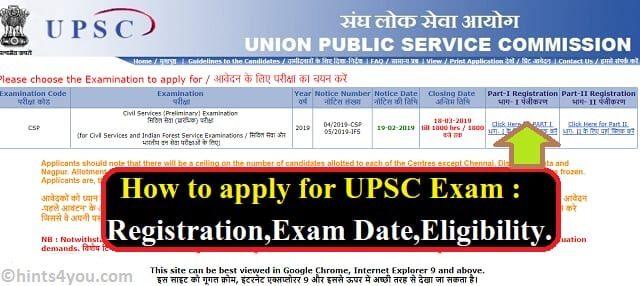 UPSC Civil Services Examination Registration: