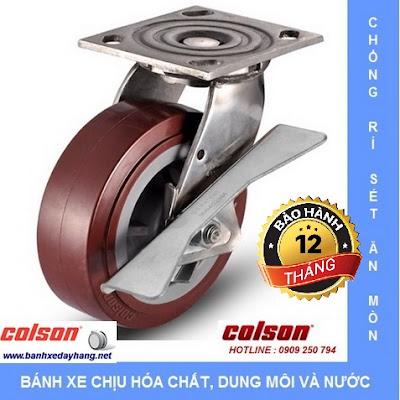 Bánh xe PU càng Inox 304 chịu lực Colson Mỹ tại Bến Tre www.banhxeday.xyz