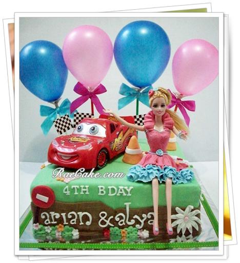 Cars And Barbie Cake For Twins Kue Ulang Tahun Birthday