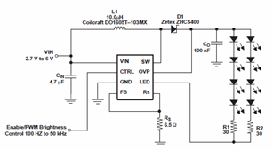 Powering Eight LEDs using TPS61042 Current LED Driver