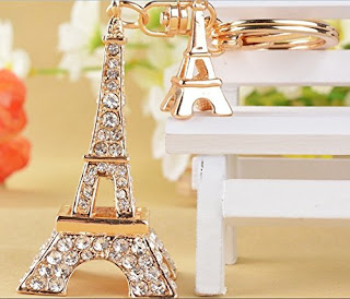 Map it up-Golden-Eiffel-Tower-Design-Bling-Crystals-Rhinestone-Women-Handbag-Purse-Charm-Key-Chain-Keyring-Holder