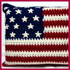 Cojín bandera a crochet