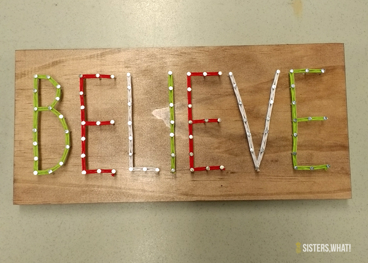 believe for a simple word string art idea pattern for christmas decoration