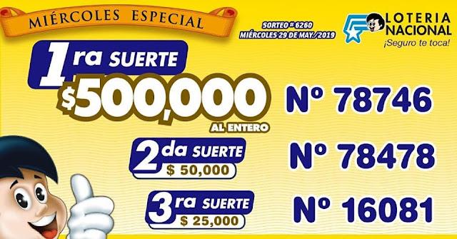 resultados sorteo 6260 de Lotería Nacional
