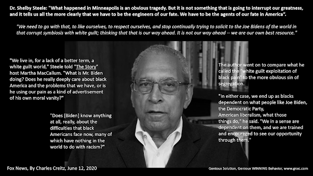 Genioux WINNING Behavior, Dr. Shelby Steele shows the path of the greatness of African American community
