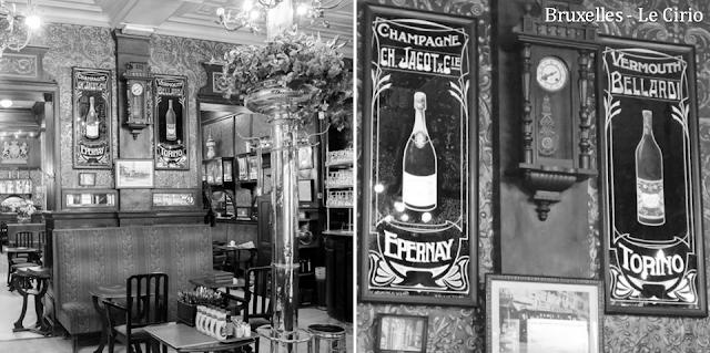 """""""Le Cirio"""" - L'une des plus anciennes tavernes bruxelloises - Classée au patrimoine des Monuments & Sites en 2011 - Salle centrale et salle arrière - Anciens panneaux publicitaires Art Nouveau - Bruxelles-Bruxellons"""