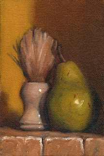 Oil painting of a white shaving brush beside a green pear.