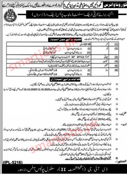 Punjab Traffic Police Jobs 2020,Traffic Assistant Jobs