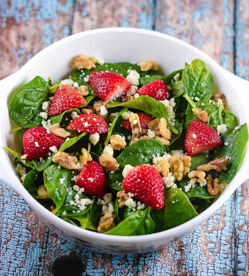 Strawberry Champagne Salad in a bowl