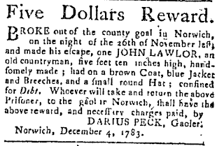 Darius Peck, Gaoler, Norwich, CT Dec. 1783