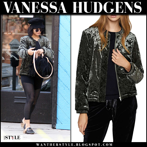 Vanessa Hudgens in green velvet jacket and black leggings street fashion december 20