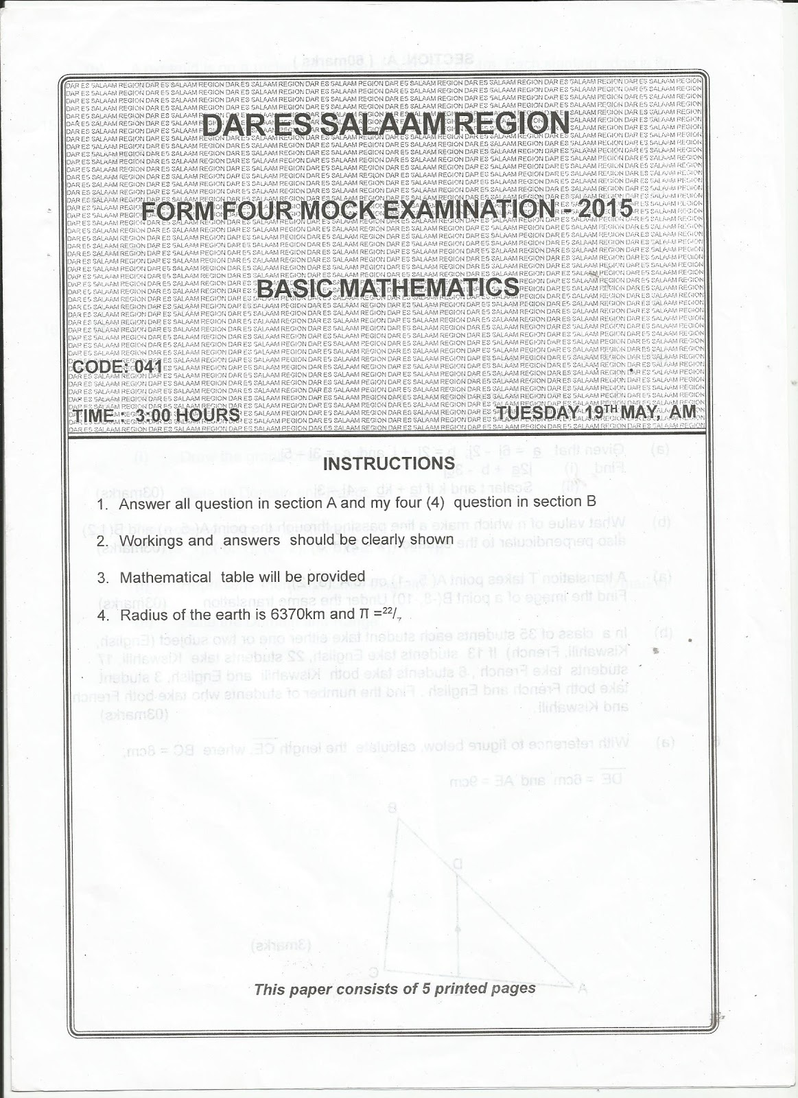 Form 1 term 2 revision papers