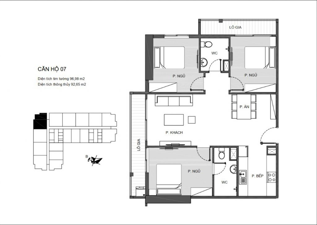 Mã căn 07 - Thiết kế căn hộ chung cư An Bình Plaza