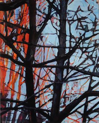 acrylic painting of trees at sunset
