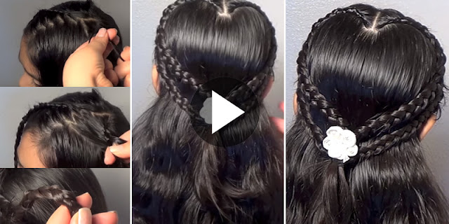 How To Create Double Heart Braid Hairsryle, See Tutorial