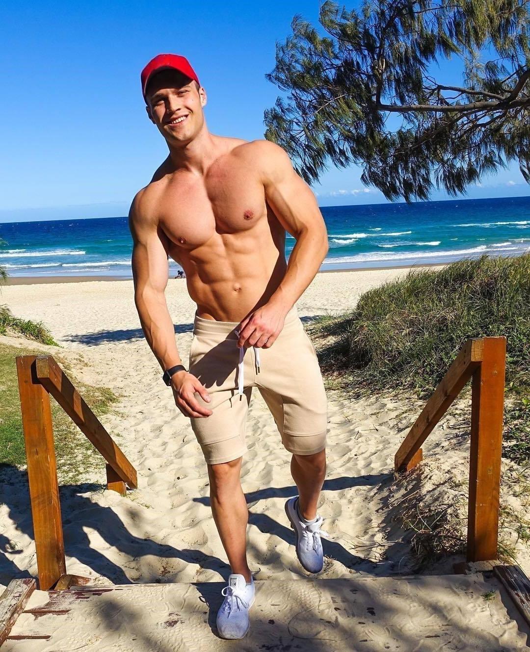 cute-swole-bare-chest-muscle-bro-cap-jay-darko-beach