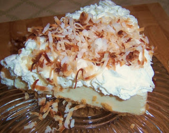 this is a photo of coconut cream pie
